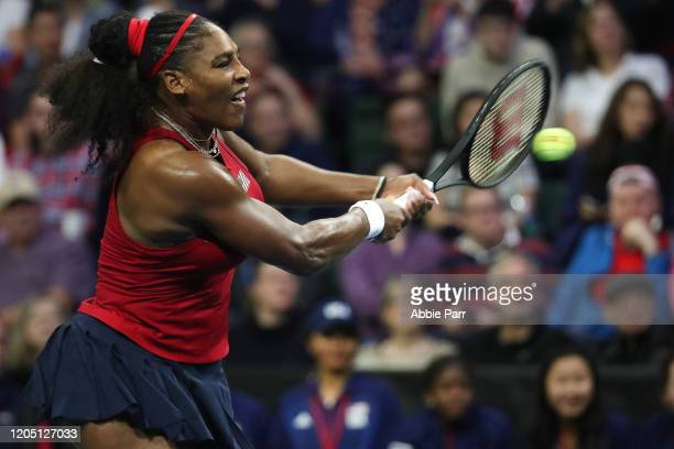 Serena Williams of USA in action while competing against Anastasija Sevastova of Latvia during the 2020 Fed Cup qualifier between USA and Latvia at...