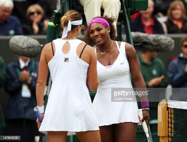 Serena Williams of USA is congratulated by Yaroslava Shvedova of Kazakhstan after their Ladies' singles fourth round match on day seven of the...