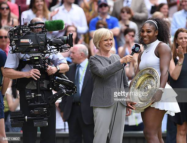 Serena Williams of USA is interviewed by the BBC's Sue Barker after winning the ladies singles final against Angelique Kerber of Germany at Wimbledon...