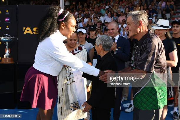 Serena Williams of USA is is congratulated by the Maori King Tūheitia Potatau Te Wherowhero after winning the Women's final between Jessica Pegula of...