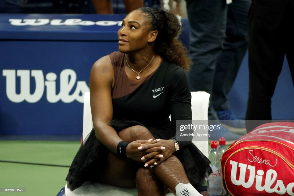 Serena Williams of USA is seen during break within US Open 2018 women's final match against Naomi Osaka (not seen) of Japan on September 8, 2018 in New York, United States.