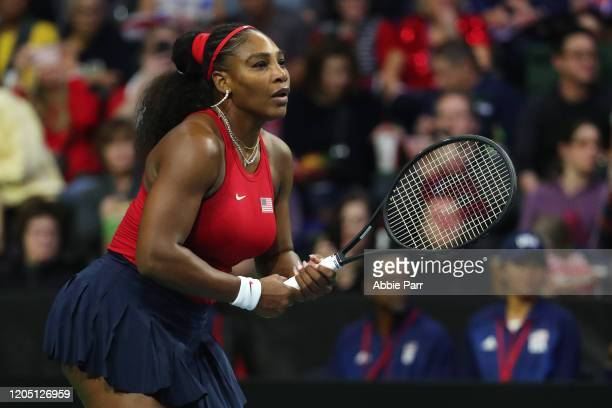 Serena Williams of USA looks on while competing against Anastasija Sevastova of Latvia during the 2020 Fed Cup qualifier between USA and Latvia at...