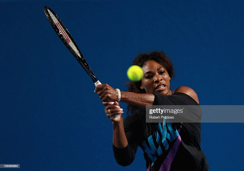 Serena Williams of USA plays a backhand ahead of the 2013 Australian Open at Melbourne Park on January 13, 2013 in Melbourne, Australia.