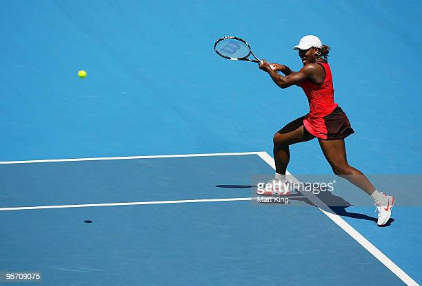 Serena Williams of USA plays a backhand in her second round match against Maria Jose Martinez Sanchez of Spain during day three of the 2010 Medibank...