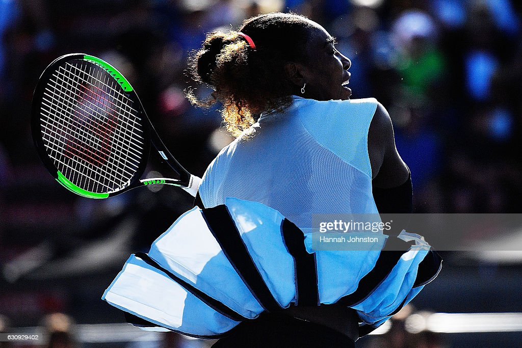 Serena Williams of USA plays a forehand in her match against Madison Brengle of USA on day three of the ASB Classic on January 4, 2017 in Auckland, New Zealand.