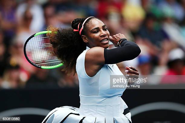 Serena Williams of USA plays a forehand in her match against Pauline Parmentier of France on day two of the ASB Classic on January 3 2017 in Auckland...