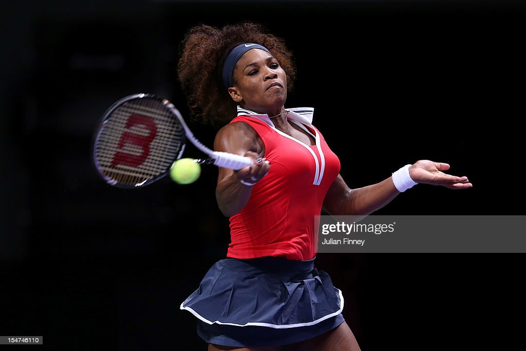 Serena Williams of USA plays a forehand in her match against Victoria Azarenka of Belarus during day three of the season ending TEB BNP Paribas WTA Championships Tennis at the Sinan Erdem Dome on October 25, 2012 in Istanbul, Turkey.