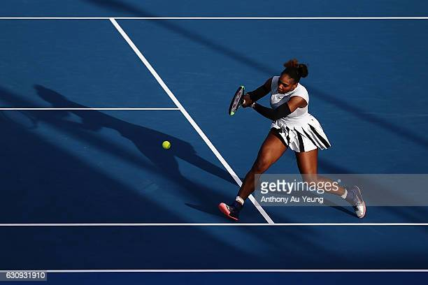 Serena Williams of USA plays a shot in her match against Madison Brengle of USA on day three of the ASB Classic on January 4 2017 in Auckland New...