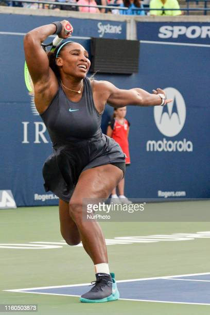 Serena Williams of USA plays against Elise Mertens of Belgium during the round 32 match of championship in the Rogers Cup tennis tournament at Aviva...