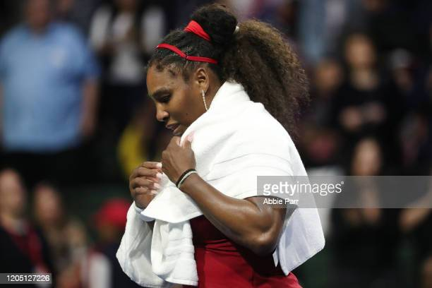 Serena Williams of USA reacts after being beaten in her match between Anastasija Sevastova of Latvia 76 36 and 76 during the 2020 Fed Cup qualifier...