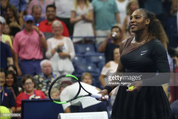 Serena Williams of USA reacts after defeating Magda Linette of Poland during their 128 round match at the US Open in Court 17 in New York United...