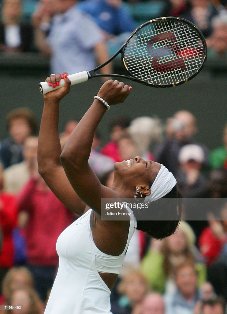 Serena Williams of USA reacts as she is victorious during her Women's Singles fourth round match against Daniela Hantuchova of Slovakia during day seven of the Wimbledon Lawn Tennis Championships at the All England Lawn Tennis and Croquet Club on July 2, 2007 in London, England.