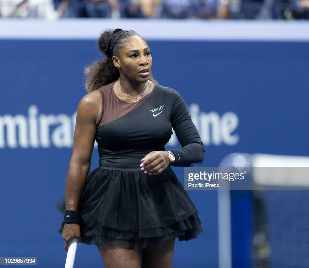 Serena Williams of USA reacts during US Open 2018 women's single final against Naomi Osaka of Japan at USTA Billie Jean King National Tennis Center
