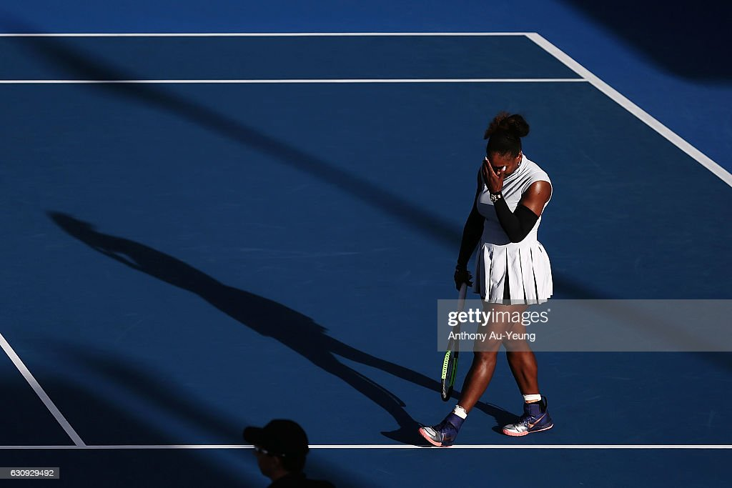 Serena Williams of USA reacts in her match against Madison Brengle of USA on day three of the ASB Classic on January 4, 2017 in Auckland, New Zealand.