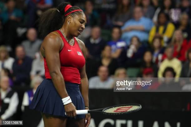 Serena Williams of USA reacts while competing against Anastasija Sevastova of Latvia during the 2020 Fed Cup qualifier between USA and Latvia at...