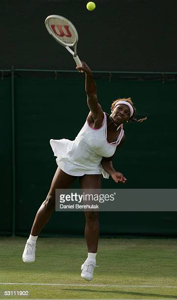 Serena Williams of USA serves against Angela Haynes of USA during the first round of the Wimbledon Lawn Tennis Championship on June 21, 2005 at the...