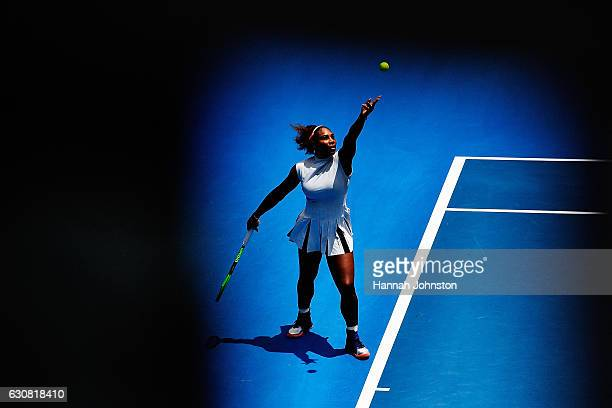 Serena Williams of USA serves during her match against Pauline Parmentier of France on day two of the ASB Classic on January 3 2017 in Auckland New...