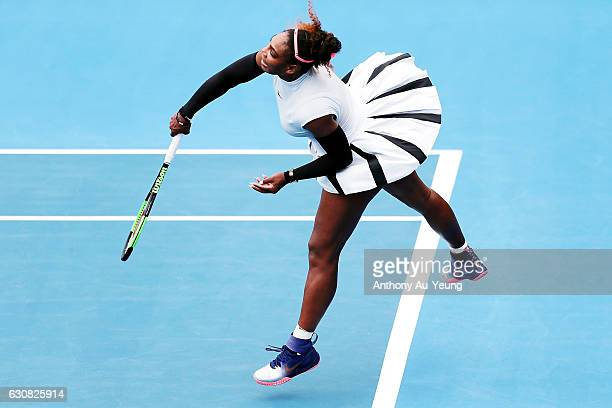 Serena Williams of USA serves in her match against Pauline Parmentier of France on day two of the ASB Classic on January 3 2017 in Auckland New...