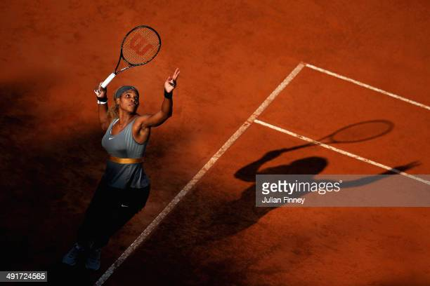 Serena Williams of USA serves to Ana Ivanovic of Serbia during day seven of the Internazionali BNL d'Italia tennis 2014 on May 17 2014 in Rome Italy