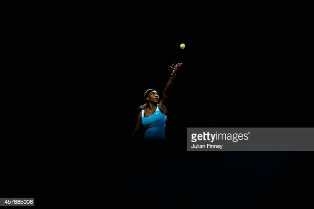 Serena Williams of USA serves to Simona Halep of Romania in the final during day seven of the BNP Paribas WTA Finals tennis at the Singapore Sports...