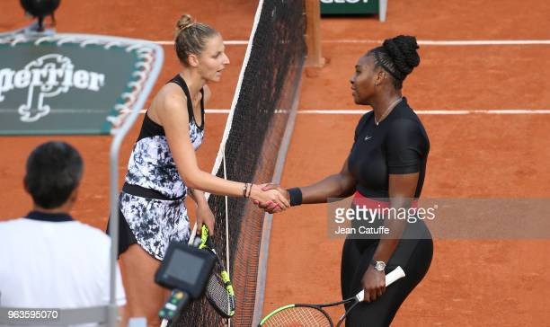Serena Williams of USA shakes hands with Kristyna Pliskova of Czech Republic after beating her during Day Three of the 2018 French Open at Roland...