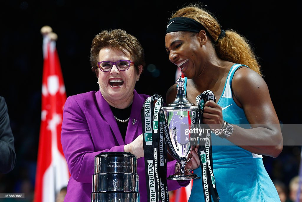 Serena Williams of USA shares a joke with Billie Jean King after her win over Simona Halep of Romania in the final during day seven of the BNP Paribas WTA Finals tennis at the Singapore Sports Hub on October 26, 2014 in Singapore.