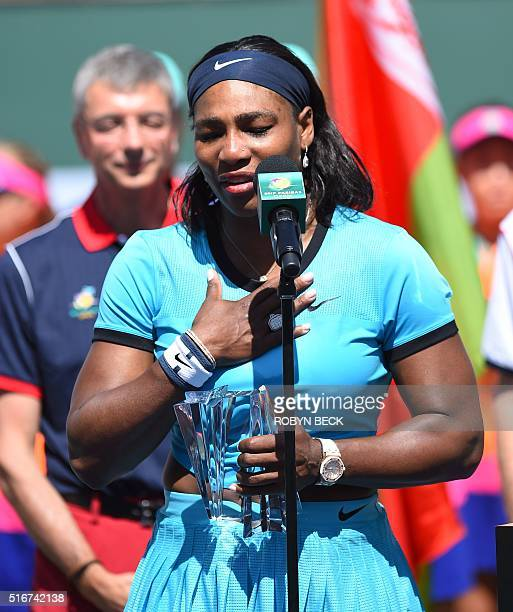 Serena Williams of USA speaks at the trophy presentation ceremony after the women's final at the BNP Paribas Open at the Indian Wells Tennis Garden...