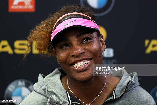 Serena Williams of USA speaks to media after her win against Pauline Parmentier of France on day two of the ASB Classic on January 3 2017 in Auckland...