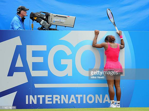 Serena Williams of USA struggles against Vera Zvonareva of Russia during day five of the AEGON International at Devonshire Park on June 15 2011 in...