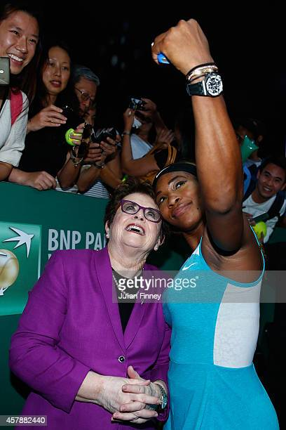 Serena Williams of USA takes a selfie with Billie Jean King after her win over Simona Halep of Romania in the final during day seven of the BNP...