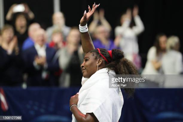 Serena Williams of USA waves to the crowd after being beaten in her match between Anastasija Sevastova of Latvia 76 36 and 76 during the 2020 Fed Cup...