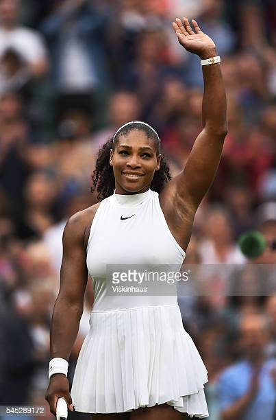 Serena Williams of USA waves to the crowd after her ladies singles match against Svetlana Kuznetsova of Russia at Wimbledon on July 4 2016 in London...