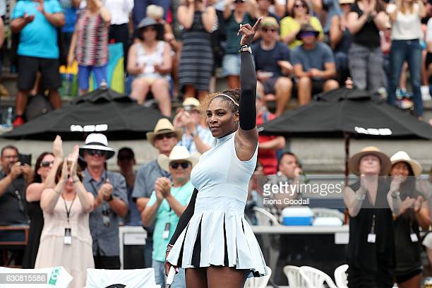 Serena Williams of USA wins her match against Pauline Parmentier of France on day two of the ASB Classic on January 3 2017 in Auckland New Zealand