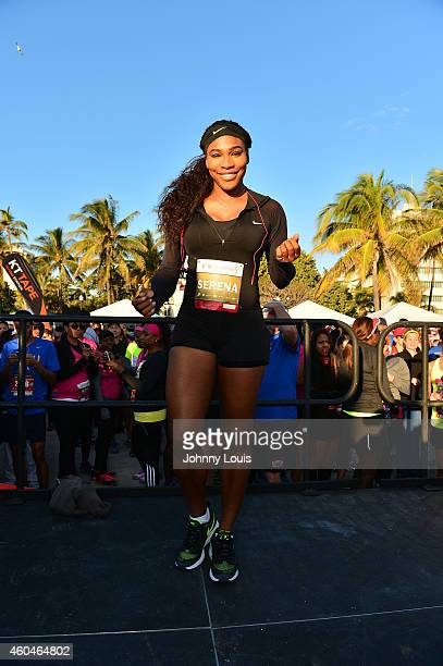 Serena Williams participates in The Serena Williams Ultimate Run on December 14 2014 in Miami Beach Florida