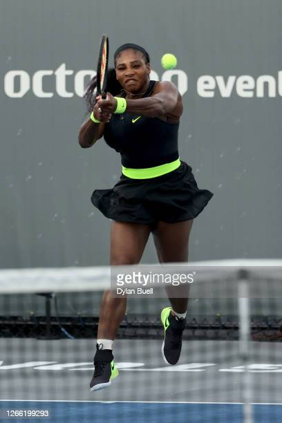 Serena Williams plays a backhand during her match against Venus Williams during Top Seed Open Day 4 at the Top Seed Tennis Club on August 13 2020 in...