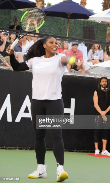 Serena Williams plays a game of tennis at The 14th Annual Desert Smash Celebrity Tennis Event on March 6 2018 in La Quinta California