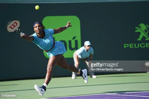 Serena Williams plays a match against Zarina Diyas of Kazakhstan during Day 6 of the Miami Open presented by Itau at Crandon Park Tennis Center on...