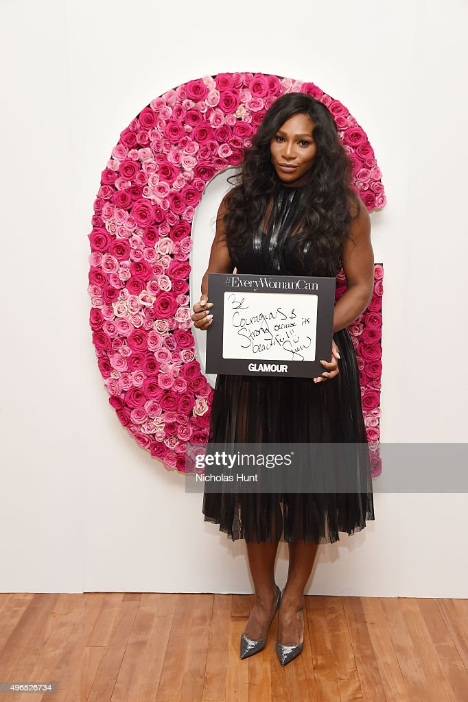 Serena Williams poses for a photo at the backstage inspiration wall at the 2015 Glamour Women of the Year Awards at Carnegie Hall on November 9, 2015 in New York City.