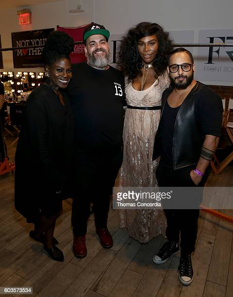 Serena Williams poses for a photo with James Vincent and guests as she arrives as HSN Presents Serena Williams Signature Statement Collection Fashion...