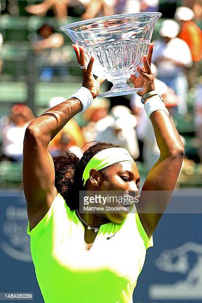 Serena Williams poses for photographers after her win over Coco Vandeweghe during the final of the Bank of the West Classic at Stanford University...