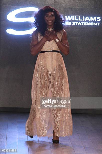 Serena Williams poses on the runway at HSN Presents Serena Williams Signature Statement Collection Fashion Show at Kia STYLE360 New York Fashion Week...