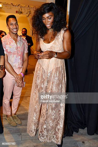 Serena Williams prepares backstage at the Serena Williams Signature Statement Collection By HSN Backstage September 2016 Style360 Fashion Week at KIA...