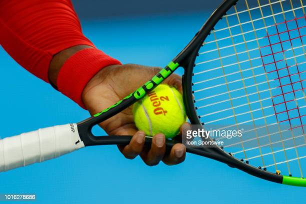Serena Williams prepares to serve during the Western & Southern Open at the Lindner Family Tennis Center in Mason, Ohio on August 13, 2018.
