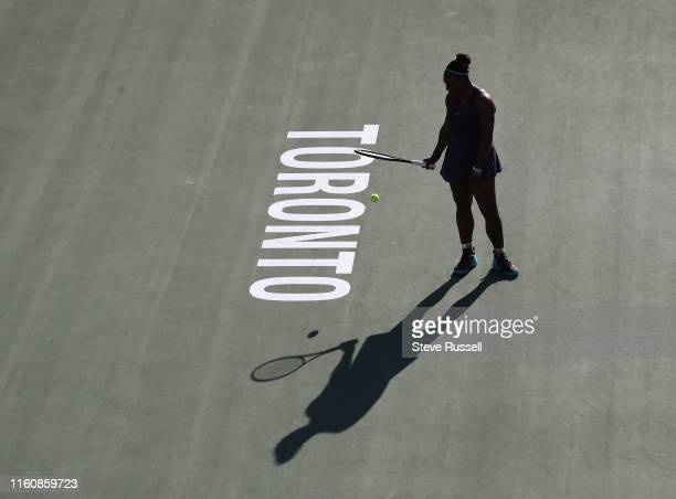 TORONTO ON AUGUST 10 Serena Williams prepares to serve she would survive a first set scare in the semifinals to beat qualifier Marie Bouzkova 16 63...