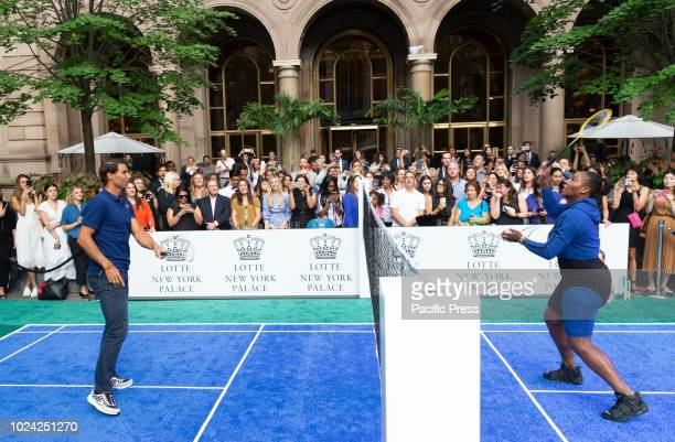 Serena Williams Rafael Nadal attend Invitational Badminton Tournament at Lotte New York Palace