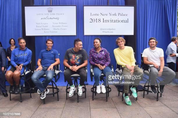 Serena Williams Rafael Nadal Nick Kyrgios Venus Williams Alexander Zverev and Mischa Zverev attend 2018 Lotte New York Palace Invitational on August...