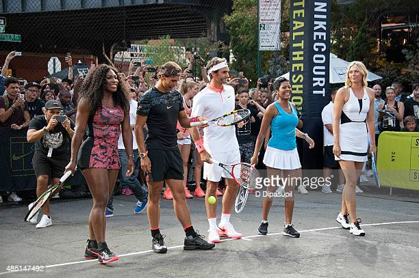 Serena Williams Rafael Nadal Roger Federer Tamron Hall and Maria Sharapova attend Nike's 'NYC Street Tennis' event on August 24 2015 in New York City