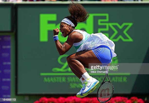 Serena Williams reacts after winning a match against Li Na of China during Day 9 of the Sony Open at Crandon Park Tennis Center on March 26 2013 in...