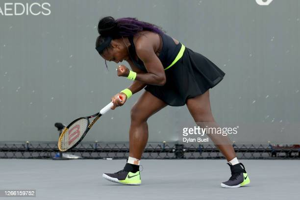 Serena Williams reacts after winning a point during her match against Venus Williams during Top Seed Open - Day 4 at the Top Seed Tennis Club on...