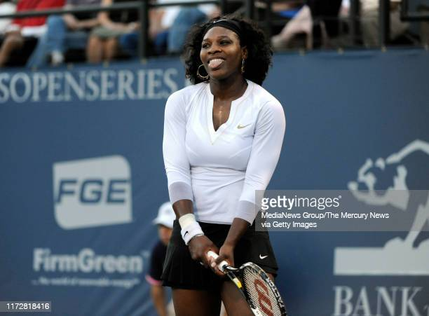 Serena Williams reacts to a lost point against Michelle Larcher de Brito in their first set for the Bank of the West Classic in the Taube Family...